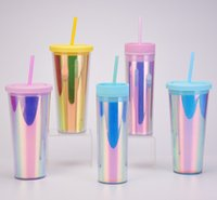 Rainbow Acrylic Tumblers 16oz 24oz Plastic Tumblers with Lids and Corlorful Straws Skinny Tumbler Double Wall Sippy Cup Reusable Cup