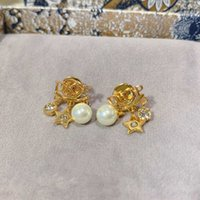 Boucle d'oreille en forme d'étoile avec Nature Perle Perles Diamond pour femme de mariage cadeau de bijoux de mariage en plaqué or 18 carats ont une boîte à timbres PS8672