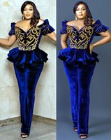 2021 Plus Size Arabic Aso Ebi Royal Blue Sexy Jumpsuits Prom Dresses Lace Velvet Beaded Lace Evening Formal Party Second Reception Gowns Dress ZJ330