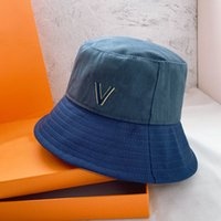 مصممي الأزياء قبعات القبعات الدينيم دلو كاب casquette رجل المرأة الفضي العلامة التجارية سبليت مشتركة القديمة زهرة المطبوعة المنصة 2105077SX