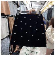 2020 autumn winter new women's high waist beading bow patchwork velvet a-line short skirt plus size S M L