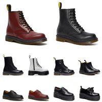 Dr Martin Stiefel Herren Damen Luxus Designer Leder Ankle Half Winter Boot Schwarz Weiß Bordeaux Weinrot Herren Samtschuhe