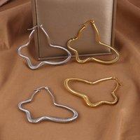 Hoop & Huggie Punk Butterfly Earrings Stainless Steel Big Heart Earring For Women Star Charm Party Gift Jewelry