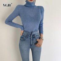 Pulls pour femmes VGH Casual Tinciting Pullover Femme Turtleneck Manches longues Slim Ruchée Automne Hiver Pour Femmes Vêtements Mode 2021