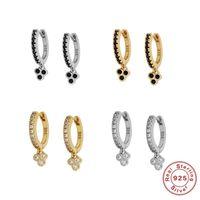 Hoop & Huggie KOJ Black Crystal Dangle Hoops Thin Charms Loops Circle Earrings 925 Sterling Silver Huggies For Women Jewelry
