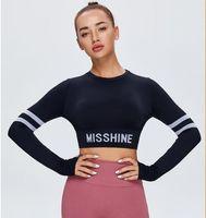 2021 feminino t-shirt Curta ioga alta elástica aptidão sem emenda aberto umbigo top esportes