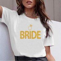 Women's T-Shirt Tops T Shirt Women Bride With Ring Gold Sequins Fit Inscriptions Custom Female Tshirt