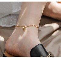 Minimalistische Gypsophila Frauen Runde Perlen Anhänger Barfuß Häkeln Sandalen Fußschmuck auf Beinen Armband Fußklets für Mädchen