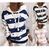 New Arrival Women's Loose Hooded Sweatshirts Autumn Winter Long Sleeve Top Stripe Pattern Printed Female Pullover Sudadera Mujer