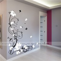 Grote Vlinder Vine Bloem Vinyl Verwijderbare Muurstickers Boom Wall Art Decals Muurschildering voor Woonkamer Slaapkamer Home Decor TX-109 211021
