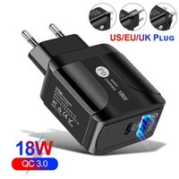 QC 3.0 3A LED Wall Charger Fast Adapter Portable USB Multi 3-Port Travel Charging Block US UK EU Plug Compatible for iPhone iPad Samsung
