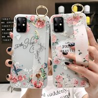 For Samsung Note 10 Plus Protective Case Flower Wrist Strap TPU Holder Case Cover for Samsung S20 Note 8 9 10 S8 S9 S10 S20 Plus