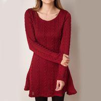 Casual Dresses Lucyever Plus Size Women Sweater Dress Fashion Autumn Winter Long Sleeve Knit Midi O Neck Ladies Thick Warm