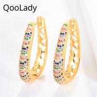 Qoolady unik design guld regnbåge färg cubic zirconia ihåliga öppna hoop örhängen för kvinnor afrikanska bröllop smycken e036 huggie