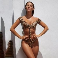 Leopard Printed Sexy Biquini Low Waist One Piece Swimsuit Women Body Suit Bikini 2021 Swimwear Bathing Thong Women's
