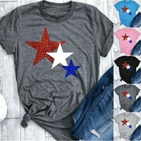 Women Stars Shirt American Flag Independence National Day USA 4th July Tricolor Stars Printed Short Sleeve Plus Size Women Tees