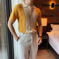 Amarelo camisa masculina de alta qualidade luxo camisa de manga curta homens homens festa de negócios festa 2021 roupas de golfe pólos masculinos