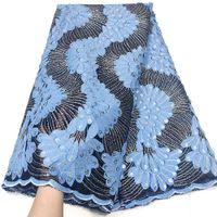 Роскошные африканские блестки кружева 2021 синие последние нигерийские кружевы ткань 5 ярдов 3d Tulle Net материал для партии Drieses