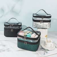 Cosmetic Bags designer PU beauty bag luxury brand large capacity Plaid pattern makeup storage box for female girl travel