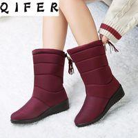 Snow Boots Plush Warm Mid-calf Female Winter Shoes Women Waterproof Ladies Plus Size 41 42