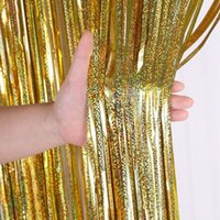 Party Decoration 1*2M Rose Gold Metallic Foil Tinsel Fringe Curtain Door Rain Home Room Wedding Deco Stage Backdrop Background Po Props