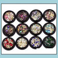 Decorazioni Salon Health Beauty4cm Box Nail Art Decoration Charm Gem Beads Rhinestone Hollow Shell Flake Flatback Rivet Misto Shiny Glitte