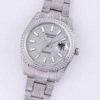 Полный бриллиант мужские часы 40,6 мм Автоматические механические часы Diamonds Bezel водонепроницаемые сапфировые наручные часы DiamondStudded сталь браслет Montre de Luxe подарок