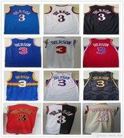 Dikişli Mesh Vintage Moda Erkekler Allen 3 Iverson Formalar Mavi Beyaz Kırmızı Siyah Basketbol Koleji Gömlek Hızlı Kargo