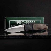 """Pro-Tech / Whiskers BR-1.51 Bolster Magic Bolster Version Auto Pliage Couteau de pliage 3.1 """"154cm Plafe ordinaire en acier inoxydable, Fibre de carbone coloré et poignées en aluminium Aero"""