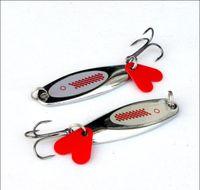Ganchos de pesca 7G-21G com coração vermelho Fatia oblíqua corte de metal lantejoulas Luya isca e acessórios de engrenagem dura gancho por atacado