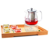 1x 7in1 Kung Fu Café De Café Set E-575ml Potenciômetro de Chá de Flores de Vidro com Infusor de Aço Inoxidável + 4 * Copo de Parede Dupla + Aquecedor + Bandeja de Bambu