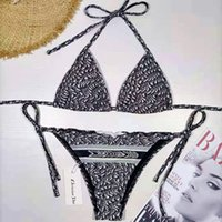 D Biquinis Designer Swimsuit Mulheres Atadage Home Têxtil Bikini 2021 Sexy Push Up Swimwear Cintura Low Cintura Banheira Halter Nadar