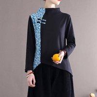 المرأة تي شيرت جون ناضج المرأة الياقة المدورة خليط طباعة الأزهار القمصان سميكة خمر الملابس 2021 الخريف غير النظامية الإناث الأسود