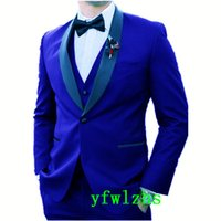Custom-made One Button Groomsmen Shawl Lapel Groom Tuxedos Men Suits Wedding Prom Dinner Man Blazer(Jacket+Pants+Tie+Vest) W831