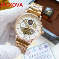 factory mens automatic mechanical watches 42mm full stainless steel skeleton dial designer waterproof wristwatch clock day and night light