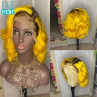 Lace Wigs 180% 4T Yellow Colored Part Human Hair For Women Brazilian Remy Pre Plucked Transparent Short Bob Wave