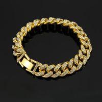 Link, Chain 2021 Arrived Men Hip Hop Iced Out Bling CZ Bracelet Fashion 20cm Long Miami Cuban Link Bracelets Mens Hiphop Jewelry Gifts