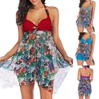 Women's Swimwear Floral Print Women High Waist Two Piece Tankini Swimsuits With Shorts V Neck Tankinis Set Swimdress Ropa Mujer