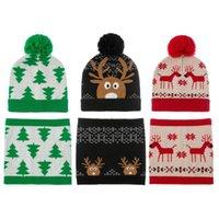Cycling Caps & Masks Winter Children's Christmas Hat Set Knitted Kids Circle Scarf Neck Born Knit Beanie Boys Girls Infant Bonnet