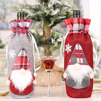 Christmas Wine Bottle Cover with Gnomes Buffalo Plaid Gift Bag Xmas Table Ornaments New Year Dinner Decor GWB10601
