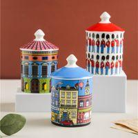 Cerámica Castillo Castillo Tenedor de velas DIY Hecho a mano Caramelo Jar Vintage Storage Bin Craft Decoración del hogar Jewerlly Caja de almacenamiento