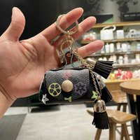 Fashion Cute Old Flower Coin Wallet Bags Pendant Keychain With Tassels Personalized Pu Leather Car Bag Key Ring Gift For Kids Girls G75TFQN