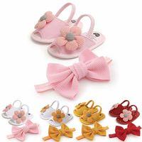 Baby Shoes First Walkers Toddler Girls Wear Flower Newborn Sandals Soft Soles HairHead 2 Piece Set Infant Footwear B7351