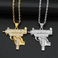 Pendant Necklaces Cool Uzi Gun Necklace For Men Male Gold Silver Color Stainless Steel Iced Out Bling Punk Hip Hop Chain Jewelry