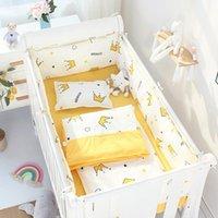 4 unids cuna parachoques + lámina de cama plana reductor de algodón Cuna para niños Protector lateral de dibujos animados bebé Conjunto de ropa de cama Kids Room Decoration Sets