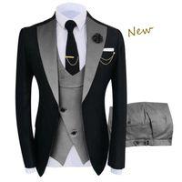 Men's Suits & Blazers 3 Peice Set Jacket+Trousers+Vest Costume Homme Clothing Luxury Party Stage Men's Suit Groomsmen Regular Fit Tuxedo
