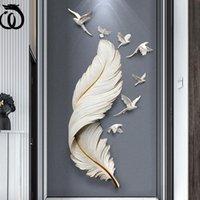 Adesivi murali Wu Chen Lungo Nordico Luxury FRP Piuma Appeso Birds Home Livingroom Sofa Priorità Bassa Artigianato Ufficio Murale Decorazione R6496