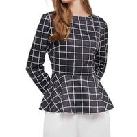Camicette Donne Ruffles Chic Top Plaid Plaid Stampa Lavoro Usura Camicetta Blusa Camicia Lady Elegante 2021 Top Shirt da donna