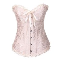 FRILL JACQUARD Brocade Corset en gros Plus Taille Taille Lace up Femmes Ruban Ruban Broderie Floral Overbust Sexy Dance Bridal Bridal Broths Brottiers