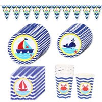 Disposable Dinnerware Blue Navigation Birthday Party Decorations Tableware Whale Sailing Cups Plates Napkin Kids Baby Shower Supplies